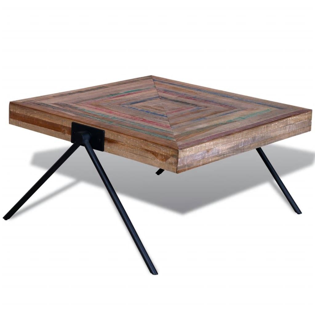vidaXL Újrahasznosított tíkfa kávézóasztal V alakú lábakkal