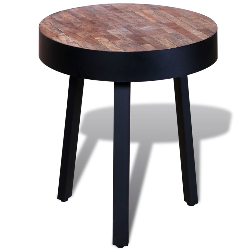 vidaXLcouk  Side Table Round Reclaimed Teak