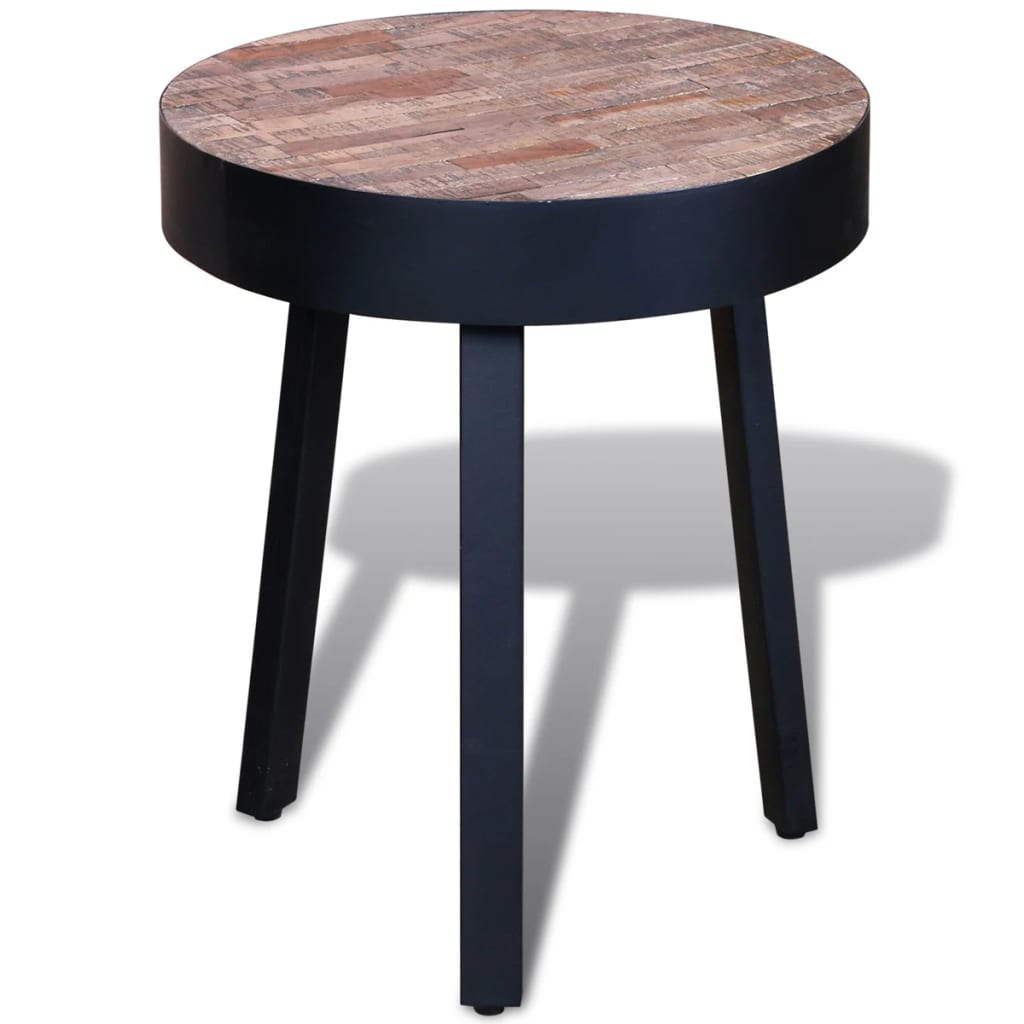 Vidaxl side table round reclaimed teak