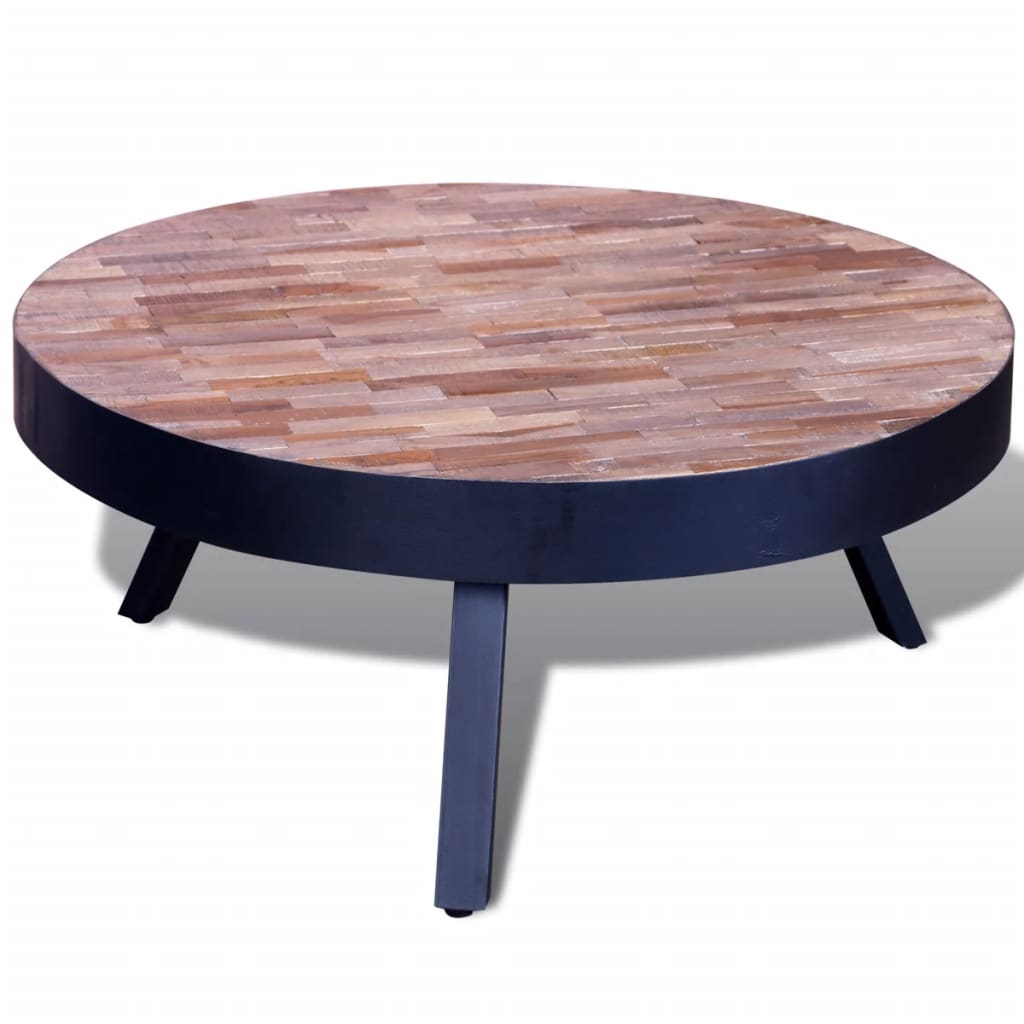 La boutique en ligne table basse ronde en teck recycl - Table basse en solde ...