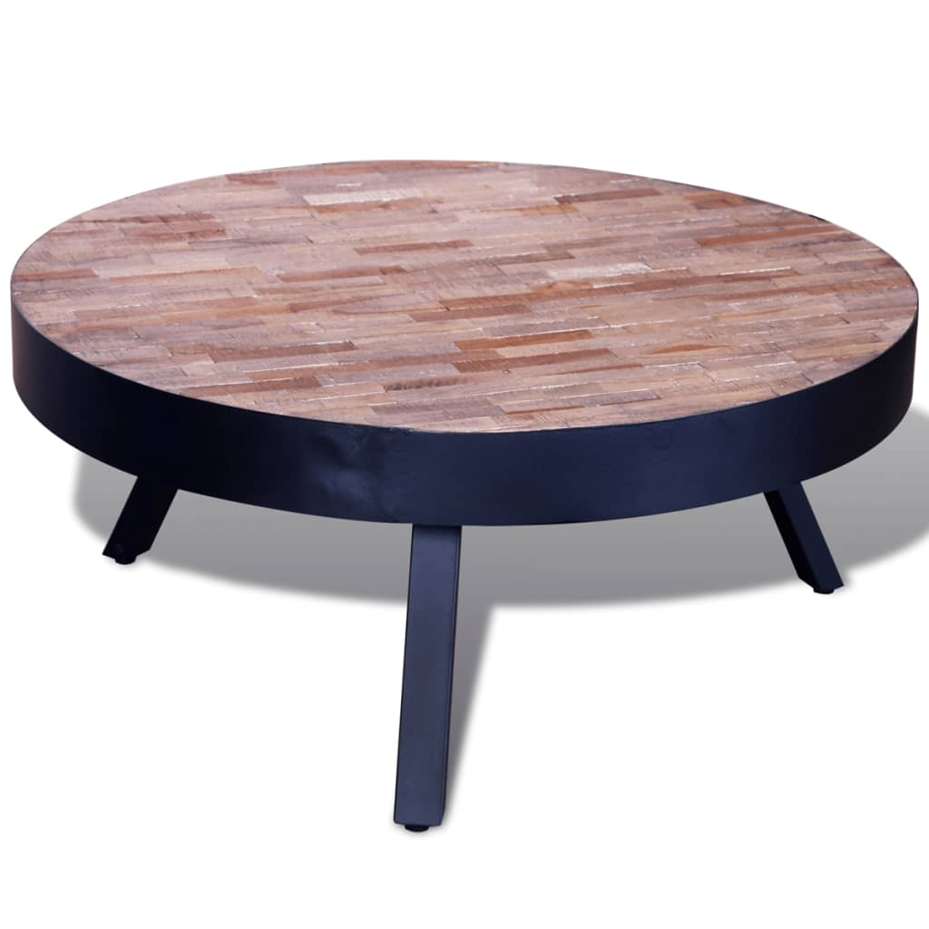 Coffee table round reclaimed teak Round espresso coffee table