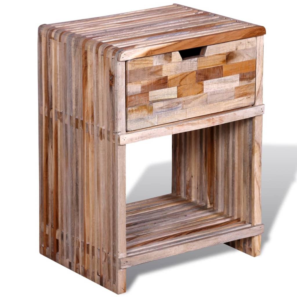 bedside cabinet with drawer reclaimed teak. Black Bedroom Furniture Sets. Home Design Ideas