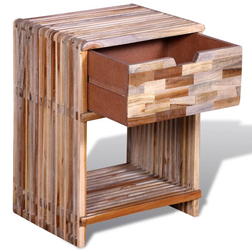 nachttisch mit schublade wiederverwendetes teak im vidaxl trendshop. Black Bedroom Furniture Sets. Home Design Ideas