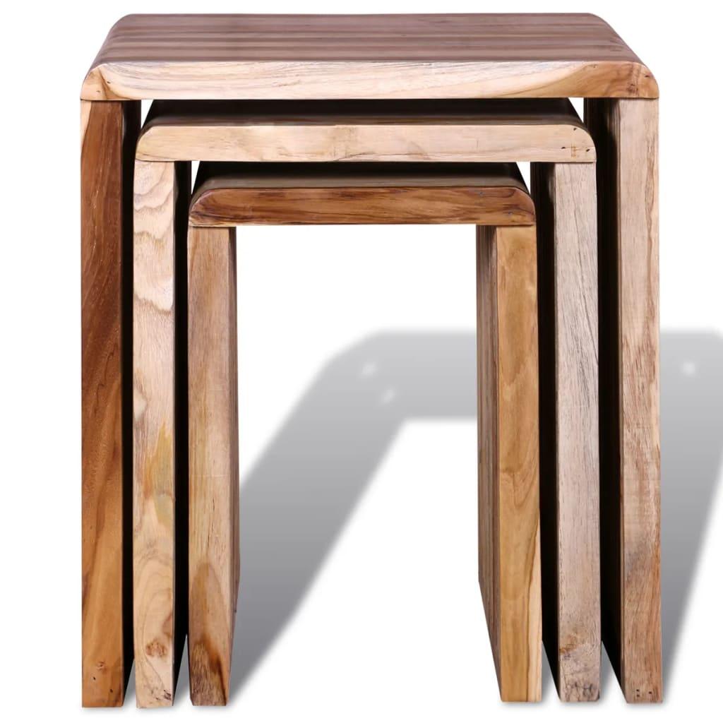 Acheter set de 3 tables gigognes en teck recycl pas cher - Tables gigognes pas cher ...