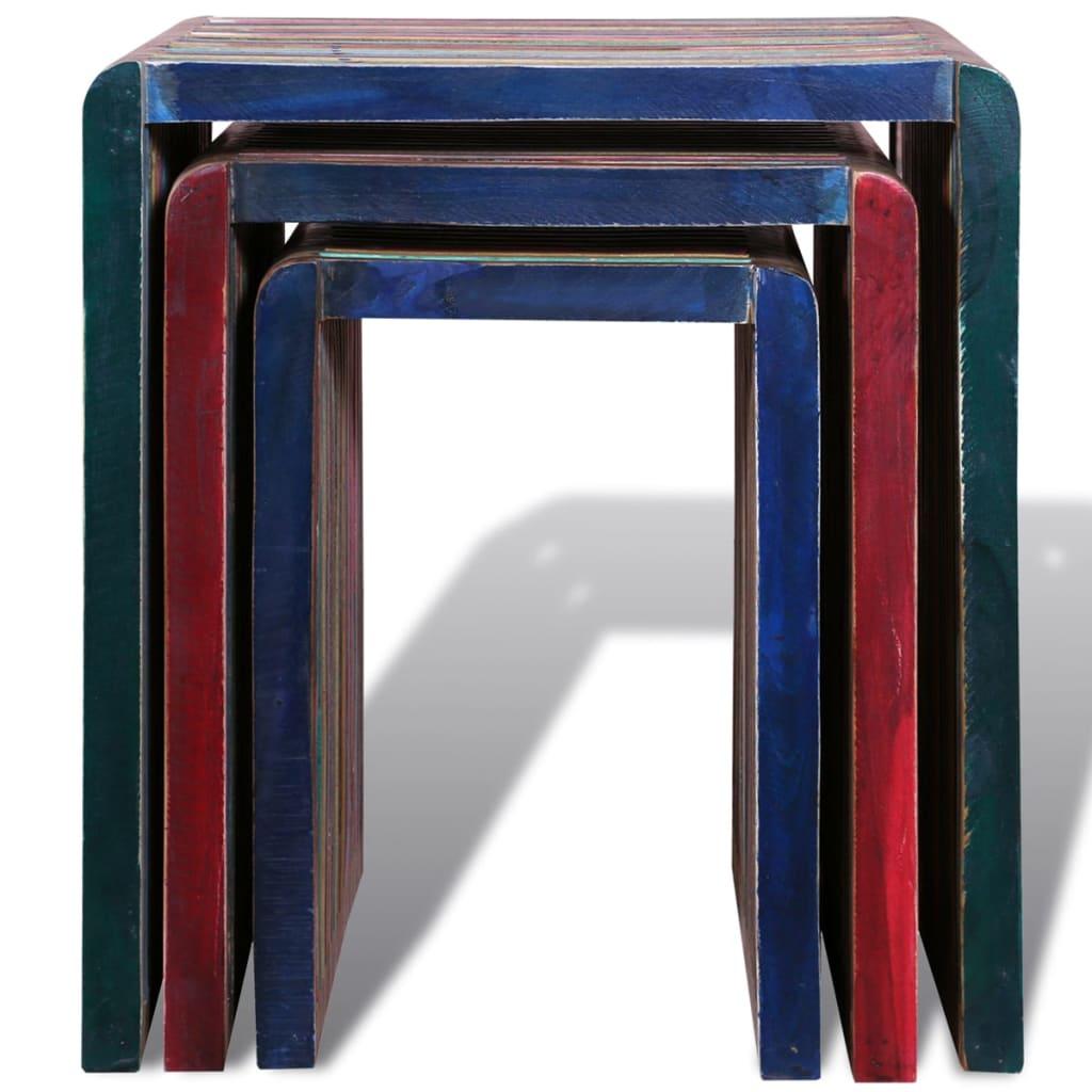 Set 3 tavolini impilabili in legno anticato colorato di for Tavolini in legno