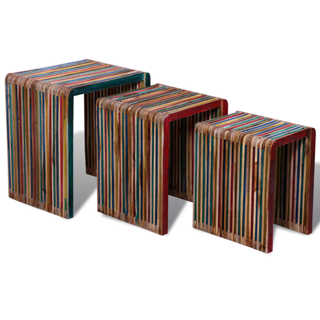 Teak Wood Pieces ~ Three piece nesting tables colorful reclaimed teak wood