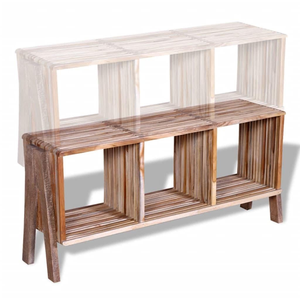 Mesa de tv de teca reciclada con 3 cajones apilables - Mesa de teca ...
