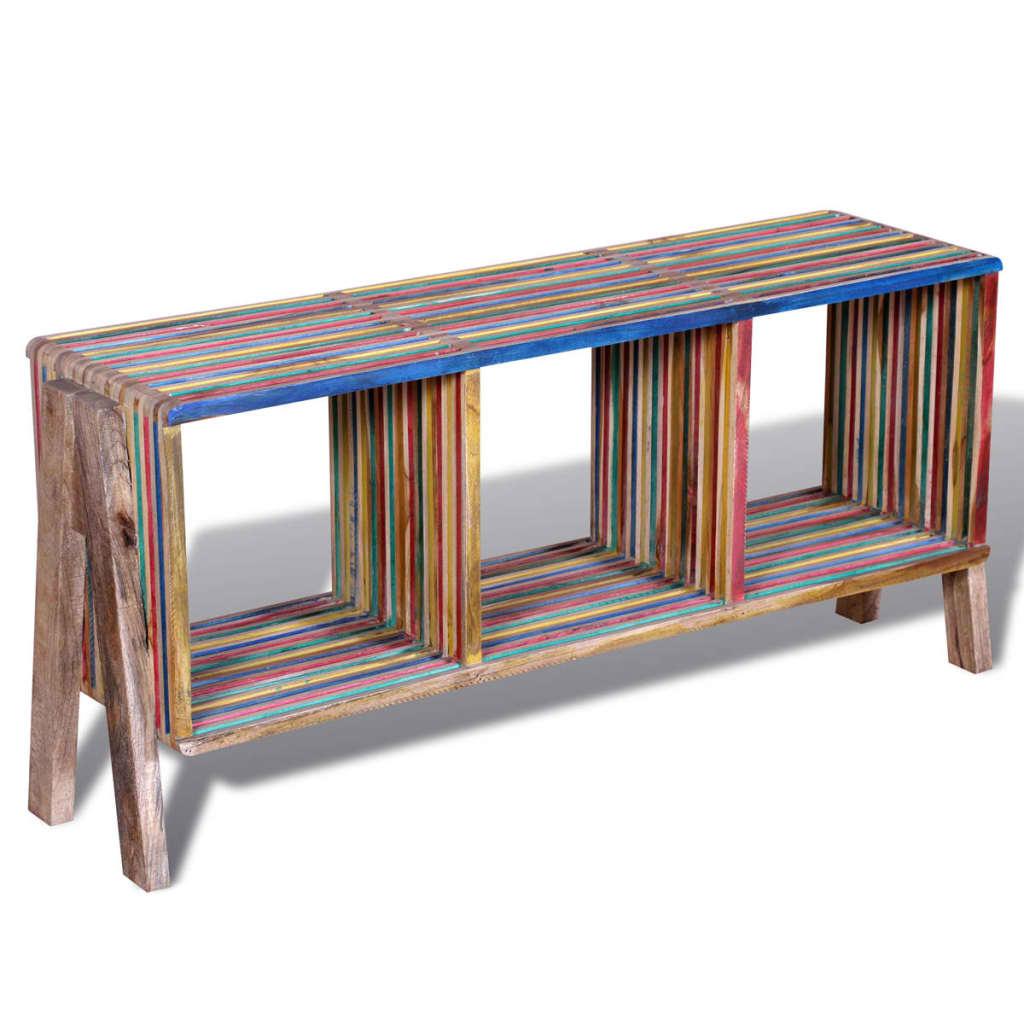 acheter meuble tv empilable color en teck recycl avec 3 tag res pas cher. Black Bedroom Furniture Sets. Home Design Ideas