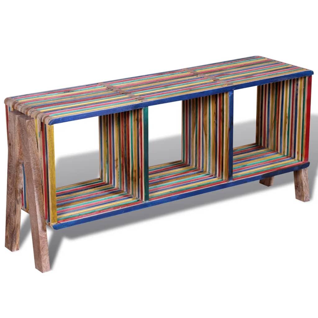 vidaXL Újrahasznosított szines tíkfa TV konzolasztal 3 polccal