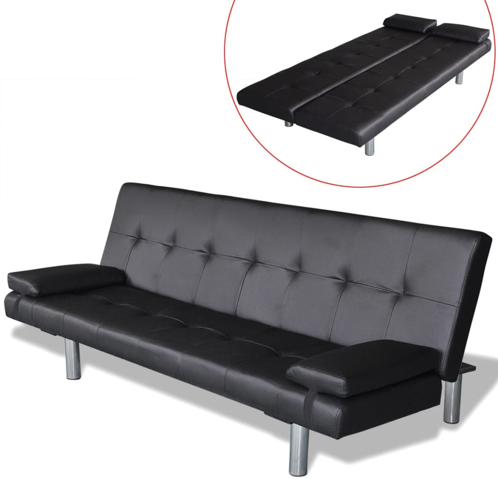 Sofa Bed with Two Pillows Adjustable Black