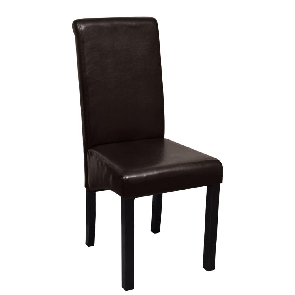 Set 2 sedie da cucina pranzo in pelle artificiale marrone for Sedie a buon prezzo