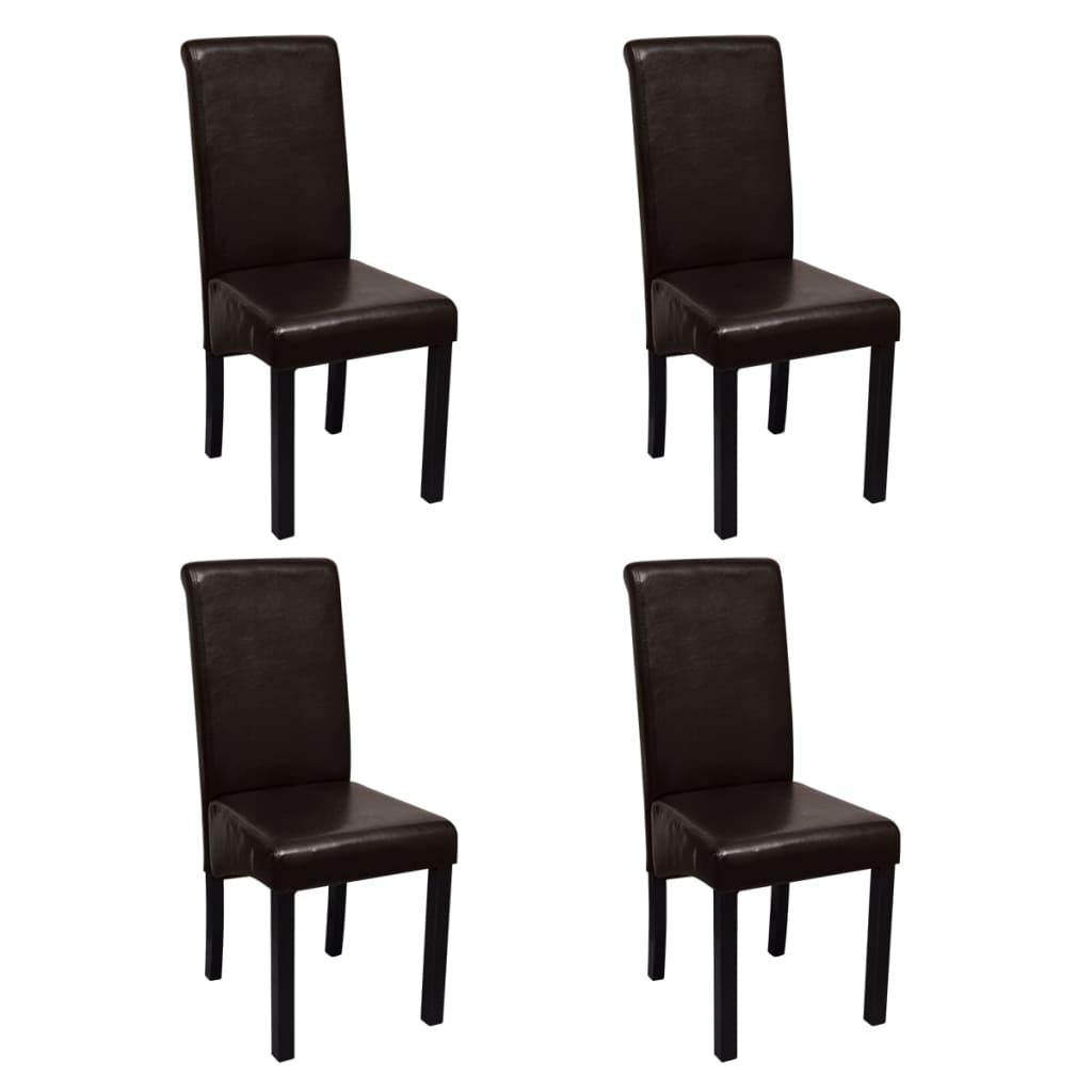 Acheter set de 4 chaises de salle manger marron en cuir for Salle a manger en solde