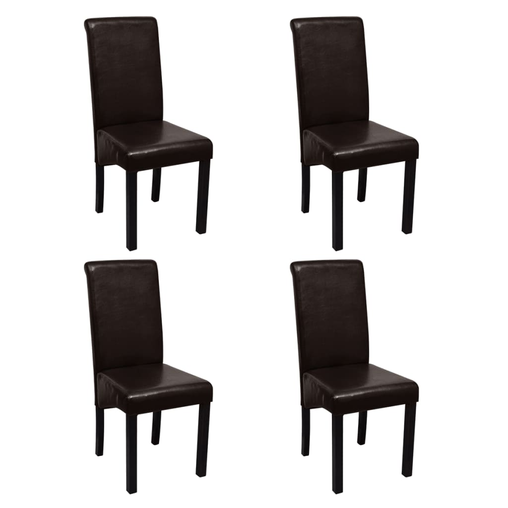 Vidaxl sillas de comedor de cuero artificial 4 unidades for Sillas de comedor de cuero