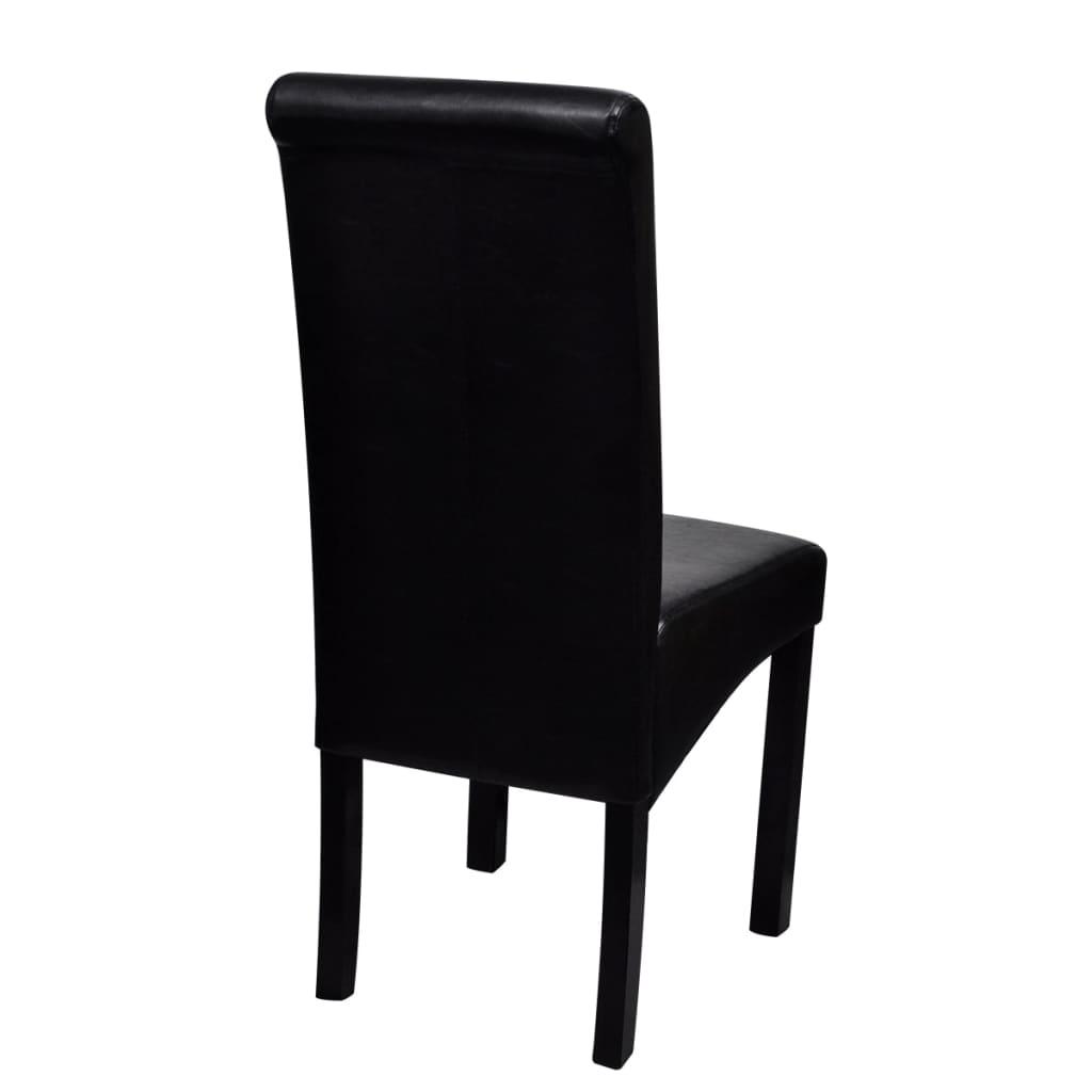 Acheter set de 4 chaises de salle manger noires en cuir for Chaises noires salle a manger