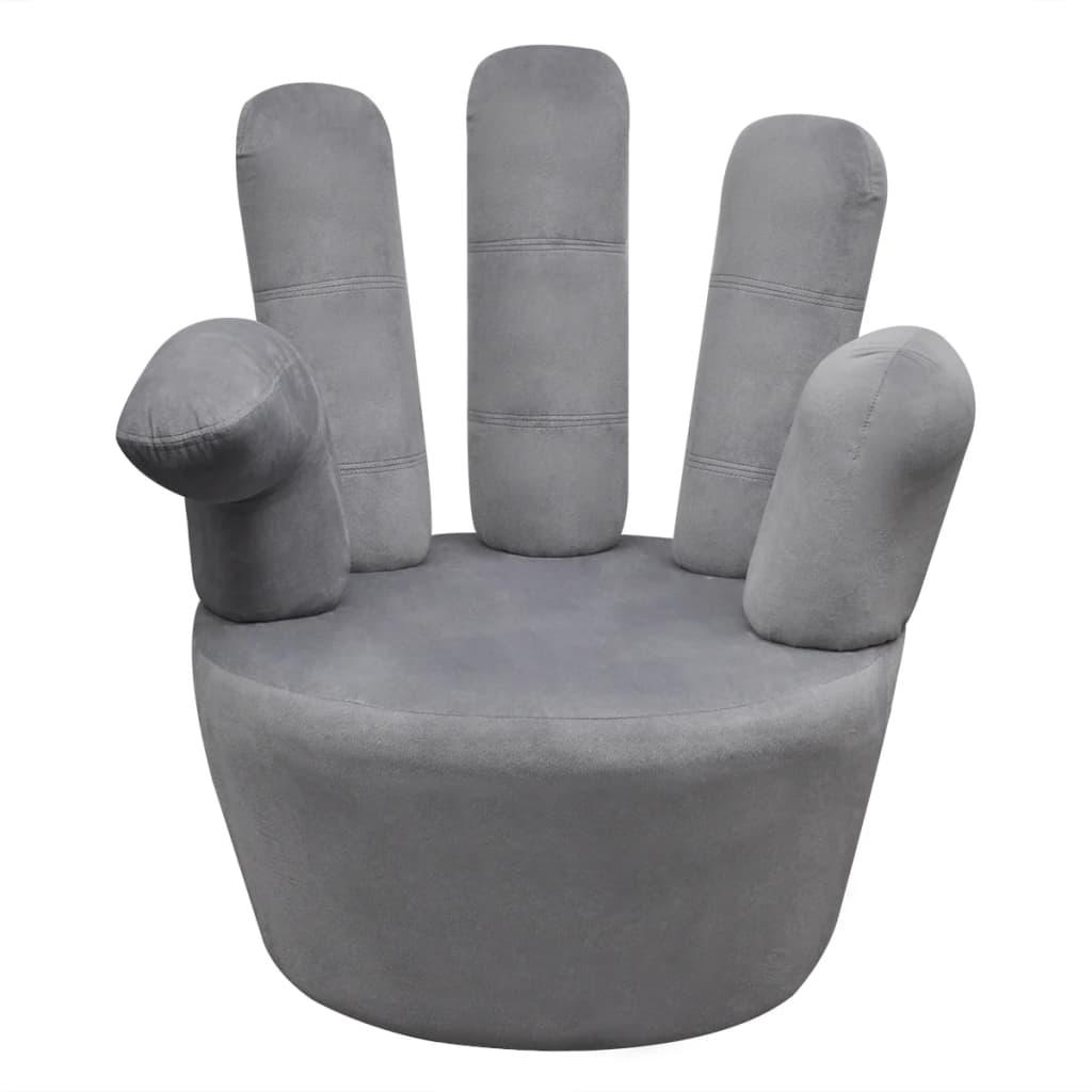 stuhl sessel in handform samt grau. Black Bedroom Furniture Sets. Home Design Ideas