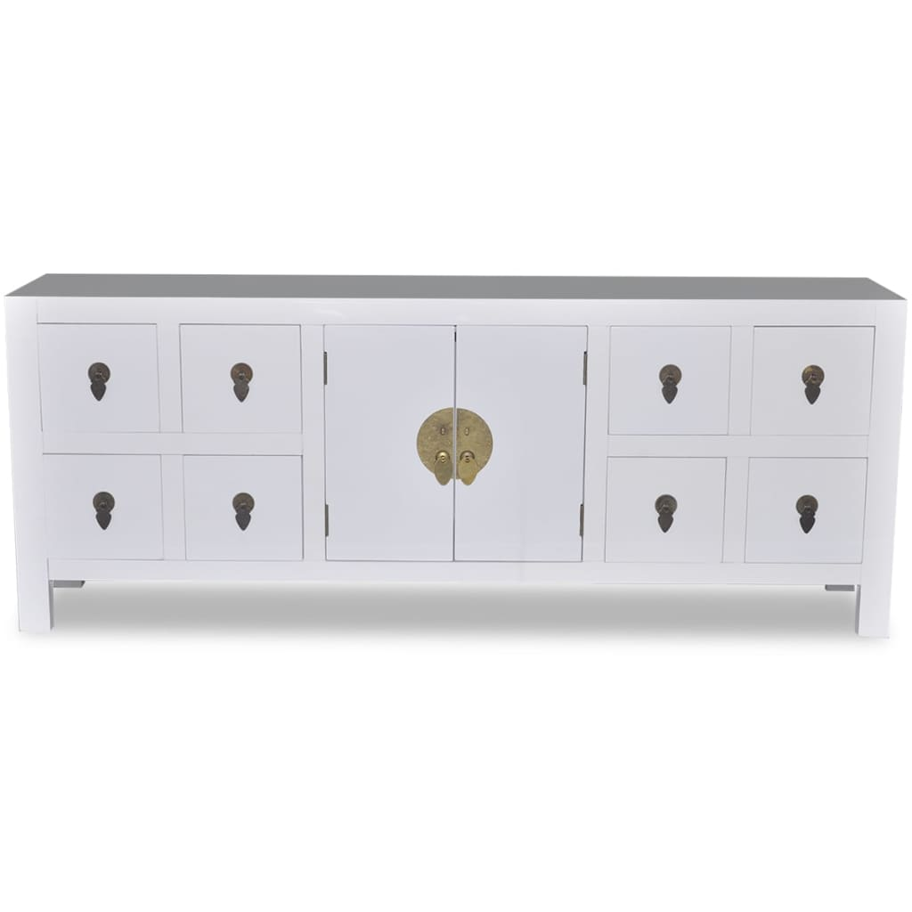 der h lzernes asiatisches sideboard tv schrank mit 8 schubladen 2 t ren online shop. Black Bedroom Furniture Sets. Home Design Ideas