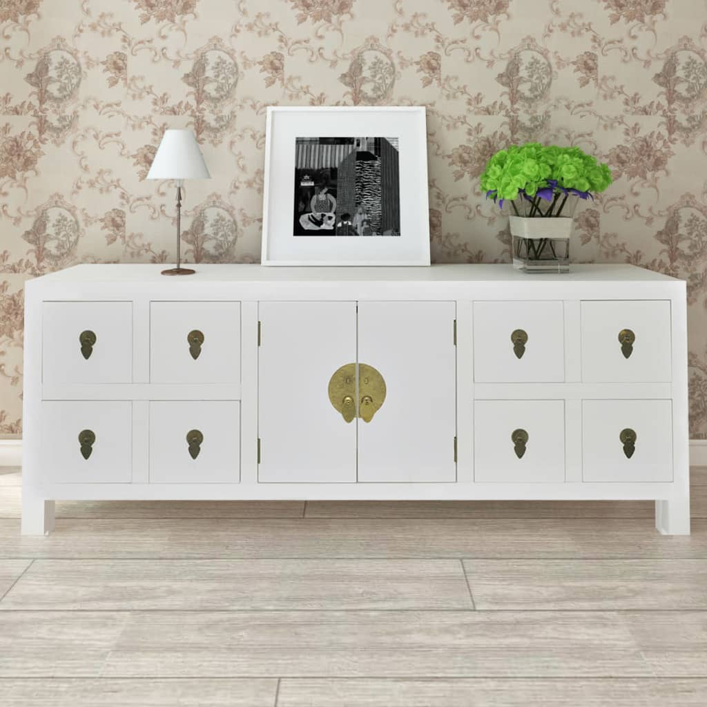 wooden asian sideboard tv cabinet 8 drawers and 2 doors. Black Bedroom Furniture Sets. Home Design Ideas