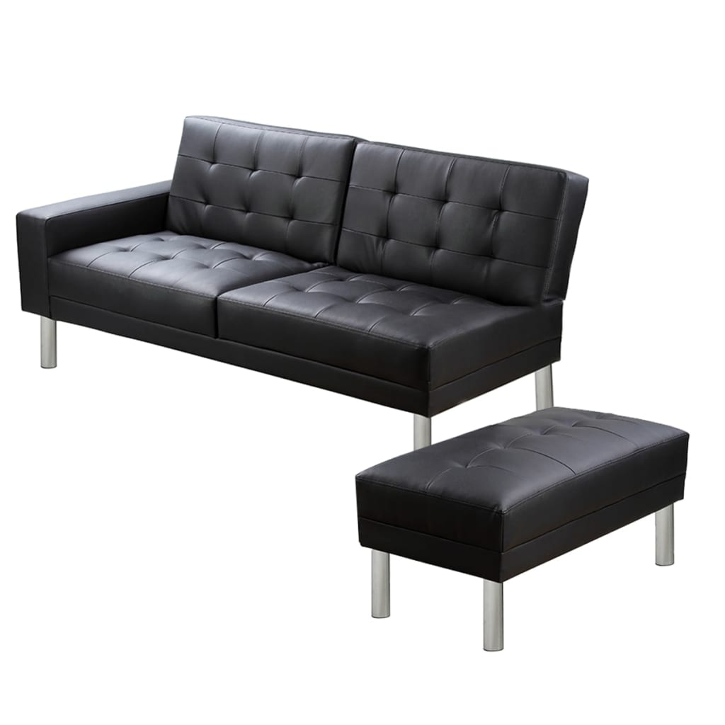 la boutique en ligne canap convertible modulable en cuir artificiel noir. Black Bedroom Furniture Sets. Home Design Ideas