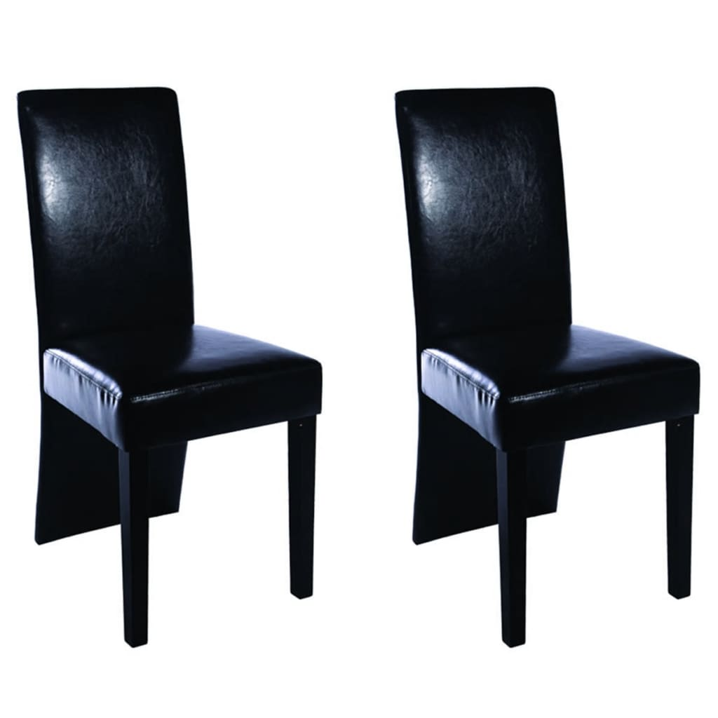 2 pcs artificial leather wood black dining for Wood and leather dining chair