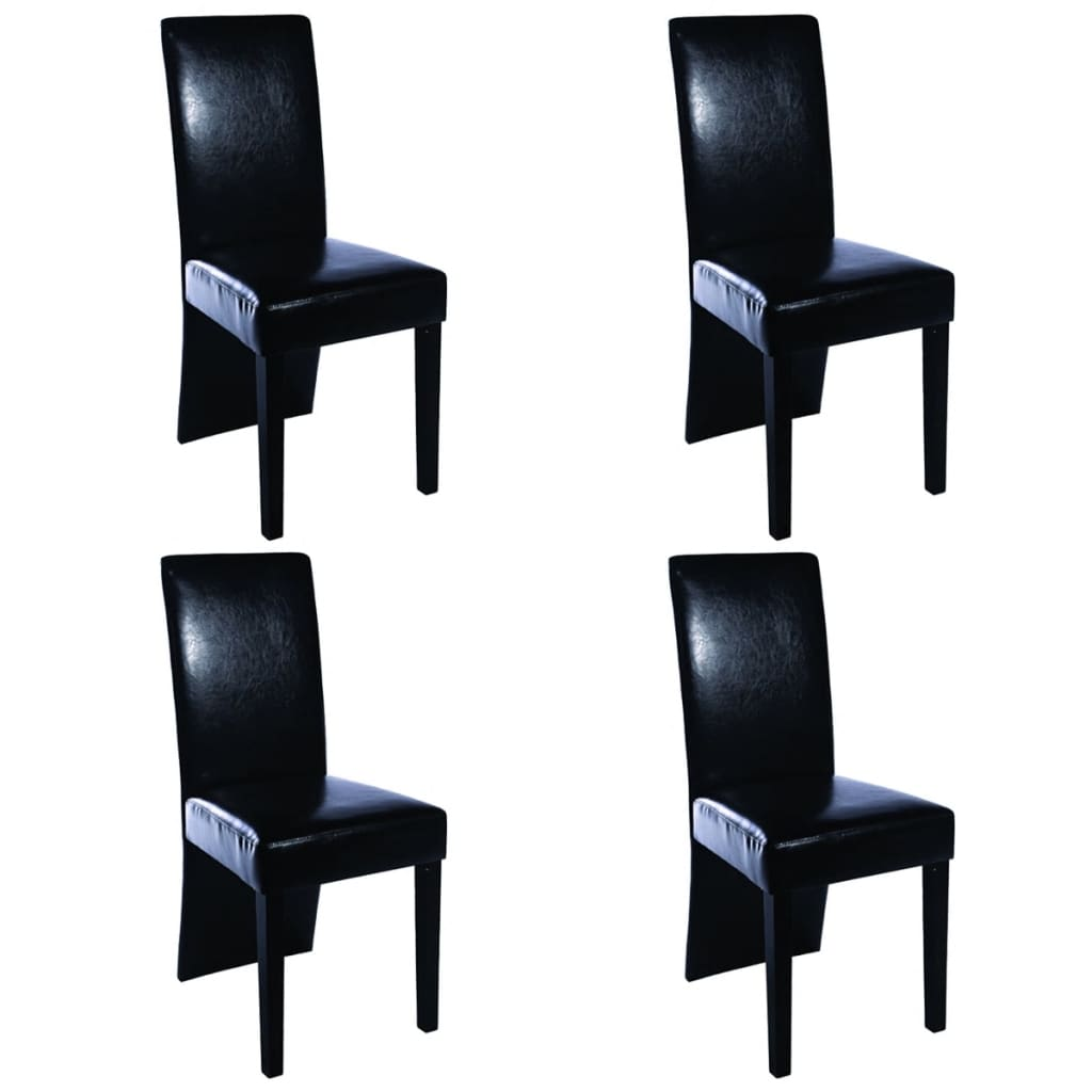 4 pcs artificial leather wood black dining chair. Black Bedroom Furniture Sets. Home Design Ideas