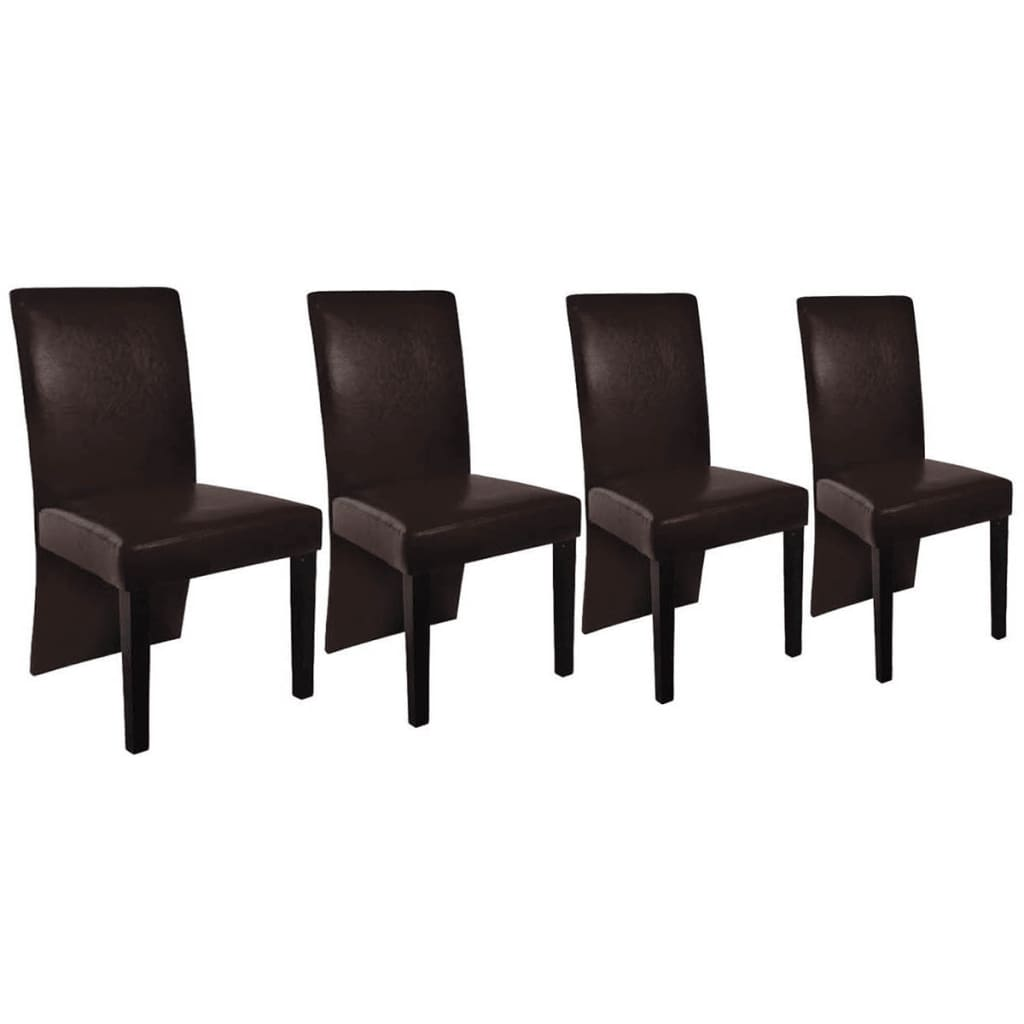 4 pcs artificial leather wood brown dining for Wood and leather dining chair