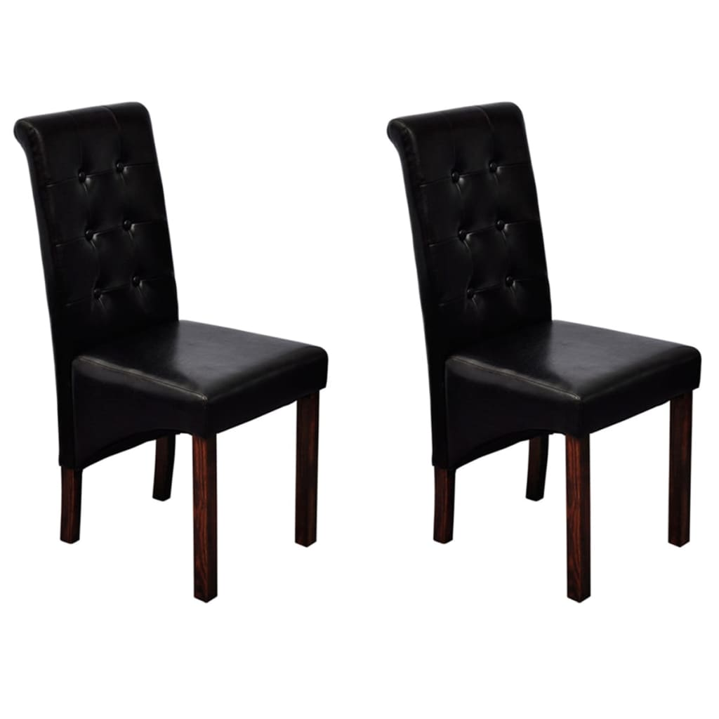 2 pcs artificial leather wood black dining chair vidaxl for Wood and leather dining chair