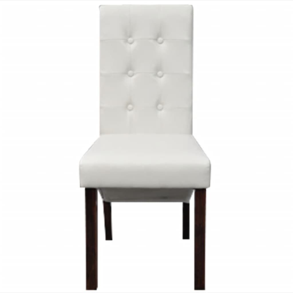 2 pcs artificial leather wood white dining chair vidaxl for Wood and leather dining chair