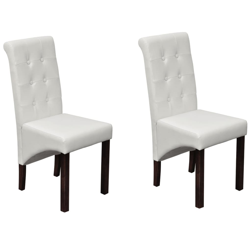 2 pcs artificial leather wood white dining chair. Black Bedroom Furniture Sets. Home Design Ideas