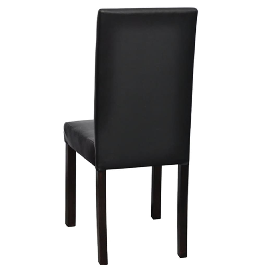 2 pcs artificial leather wood black dining for Wood leather dining chairs