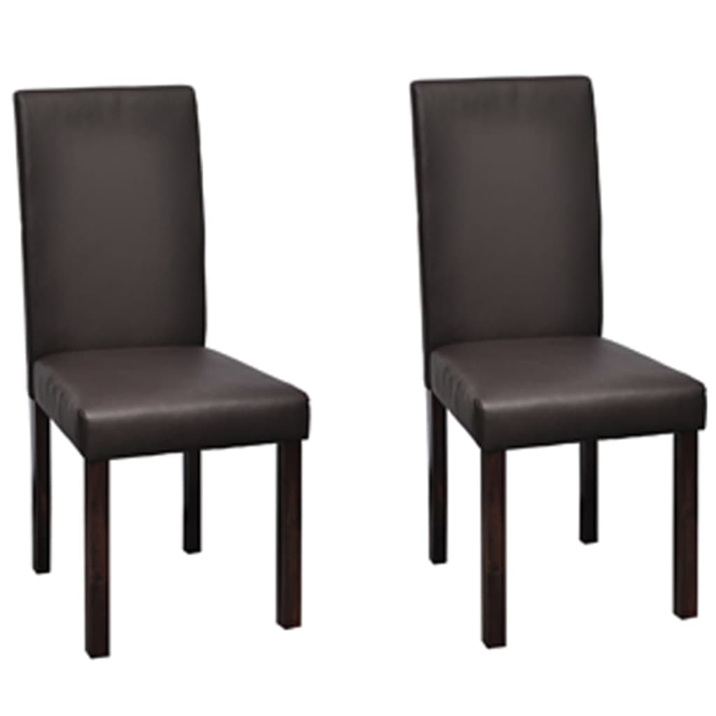 2 pcs artificial leather wood brown dining chair vidaxl for Wood and leather dining chair