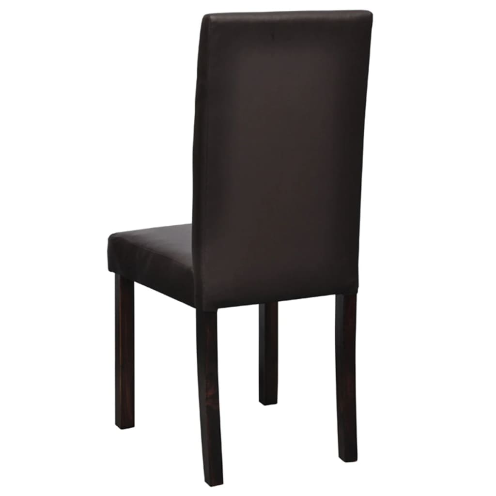 4 pcs artificial leather wood brown dining chair. Black Bedroom Furniture Sets. Home Design Ideas
