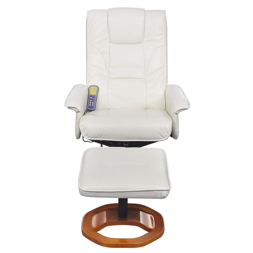 Electric tv recliner massage chair black with a footstool www vidaxl -  Electric Artificial Leather Massage Chair White With Footstool 4 7