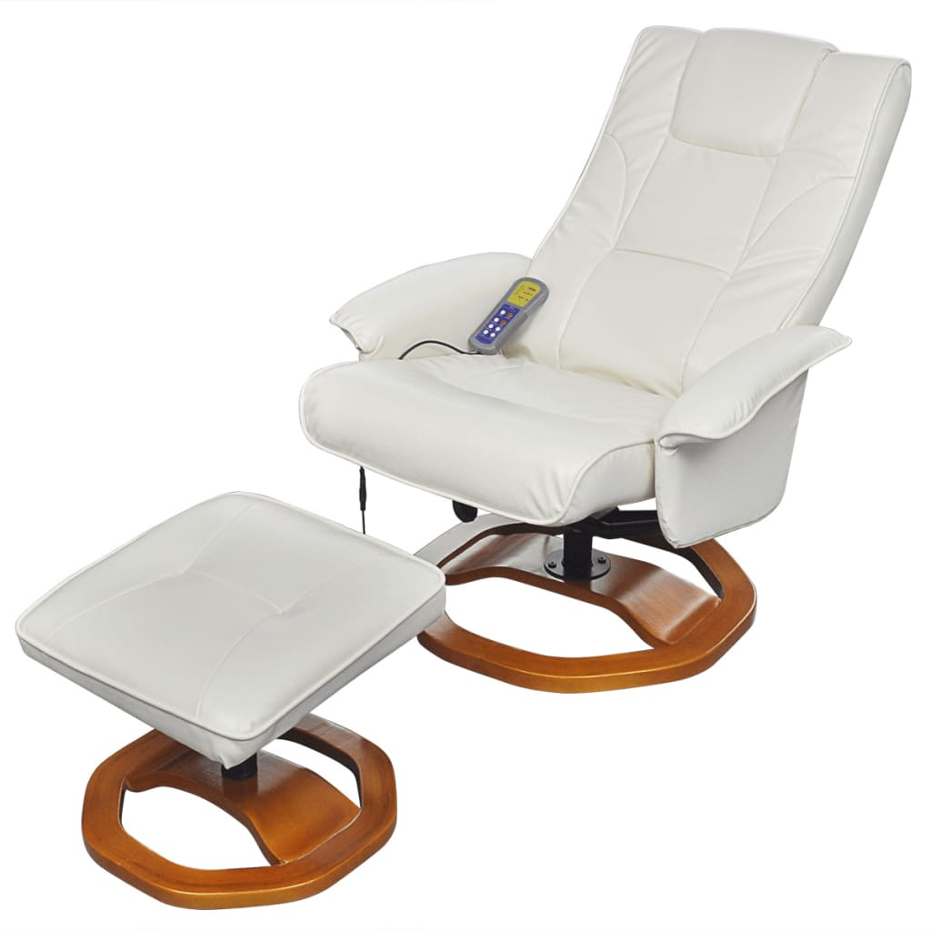 Electric tv recliner massage chair black with a footstool www vidaxl -  Electric Artificial Leather Massage Chair White With Footstool 2 7