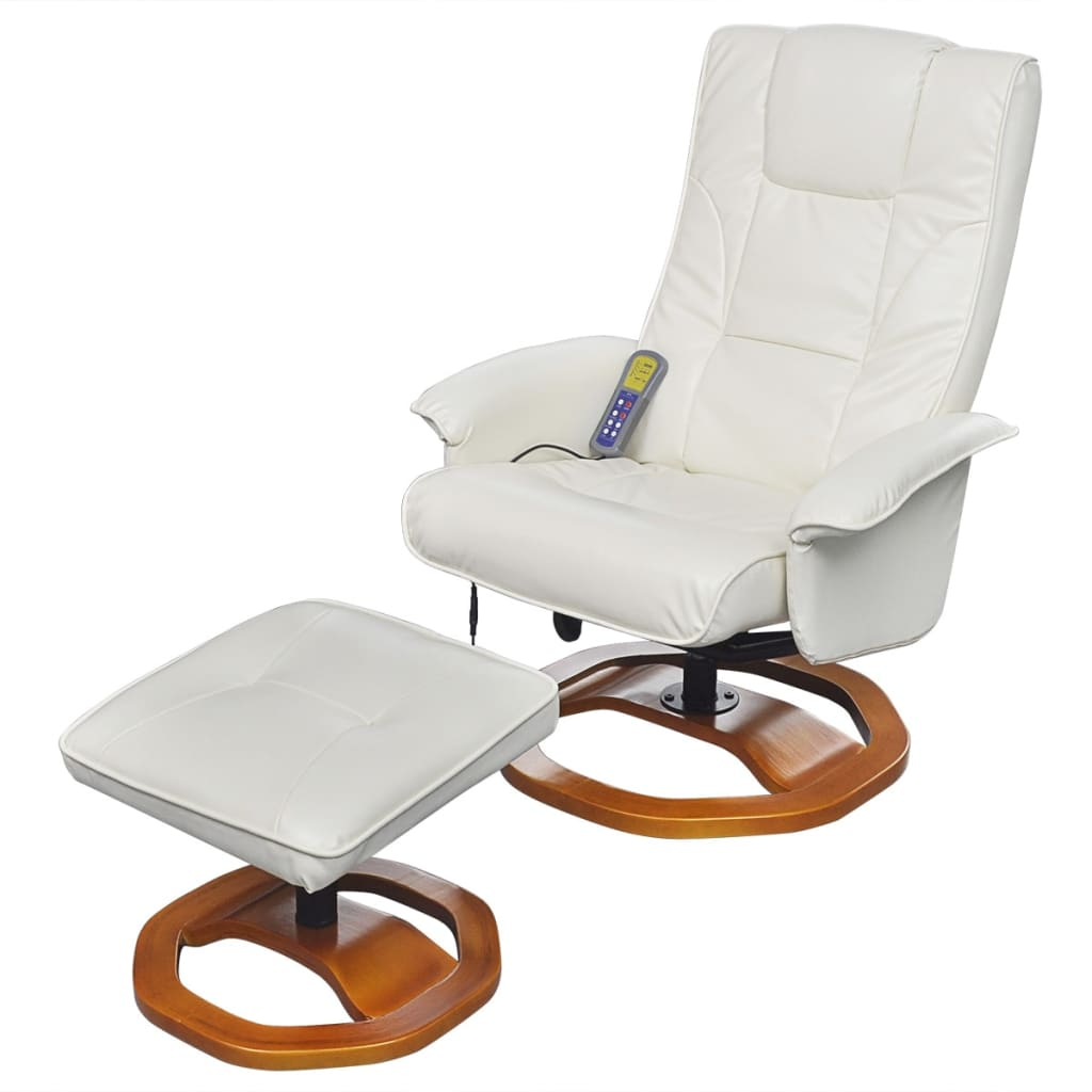 Electric tv recliner massage chair black with a footstool www vidaxl - Electric Artificial Leather Massage Chair White With Footstool