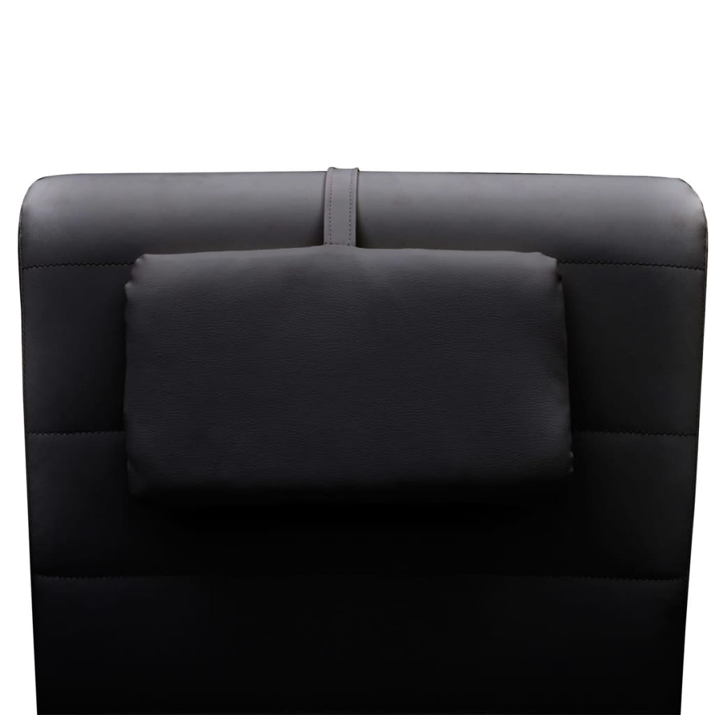 Black artificial leather chaise longue with pillow for Chaise longues for sale uk