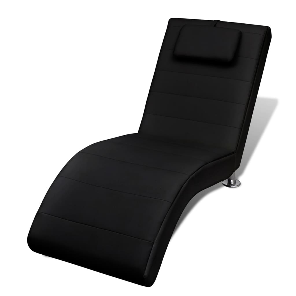 Black artificial leather chaise longue with for Black leather chaise longue