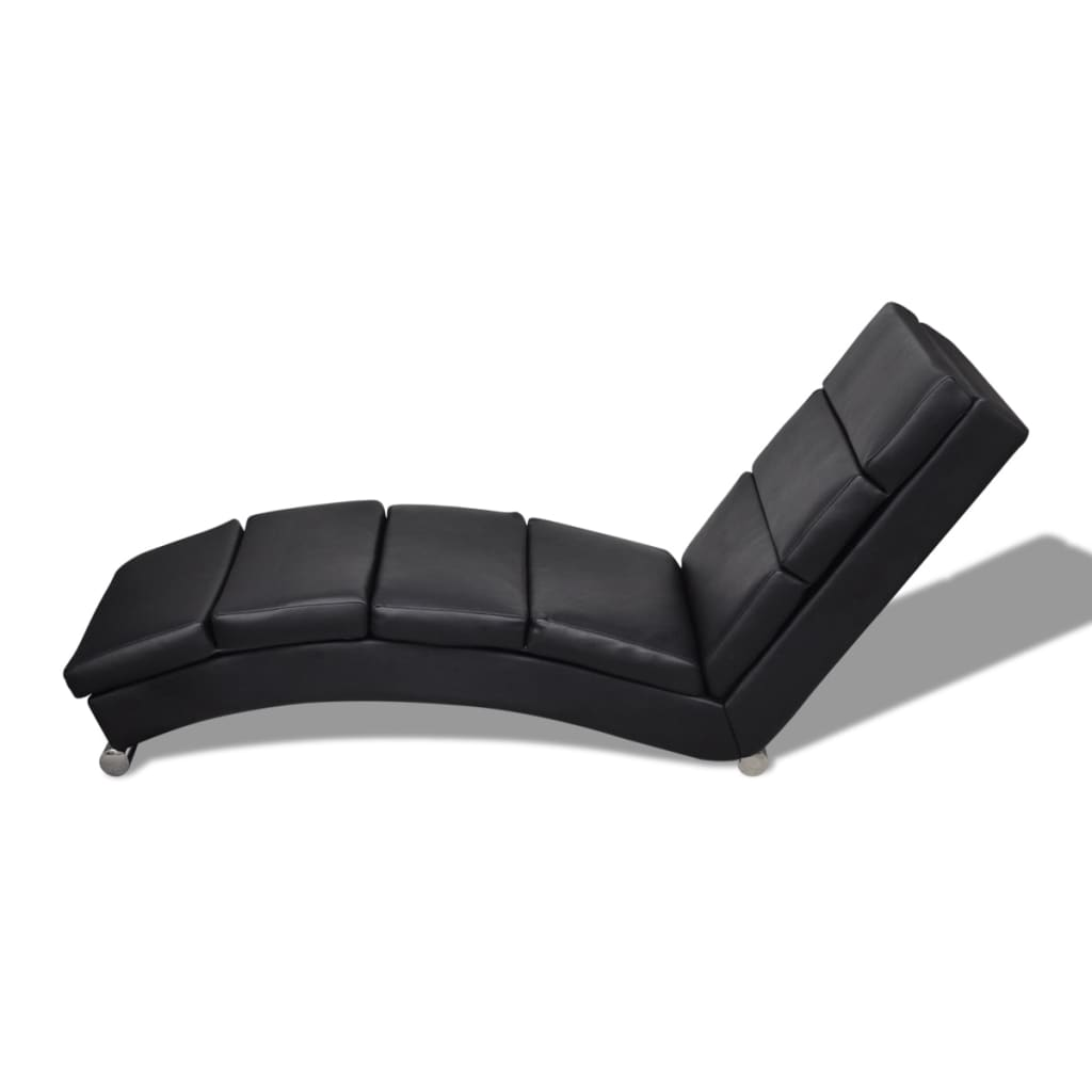 Black artificial leather chaise longue for Vidaxl chaise