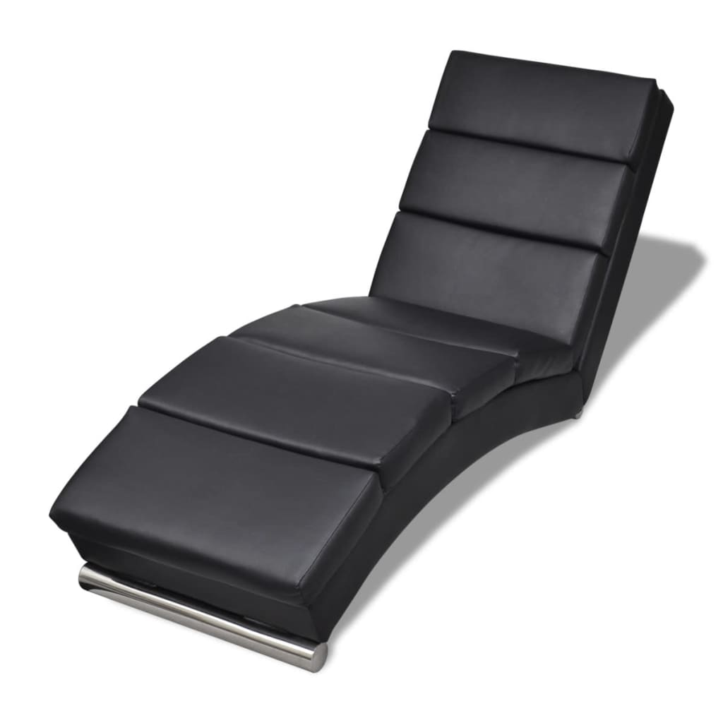 Black artificial leather chaise longue for Chaise longue balancelle