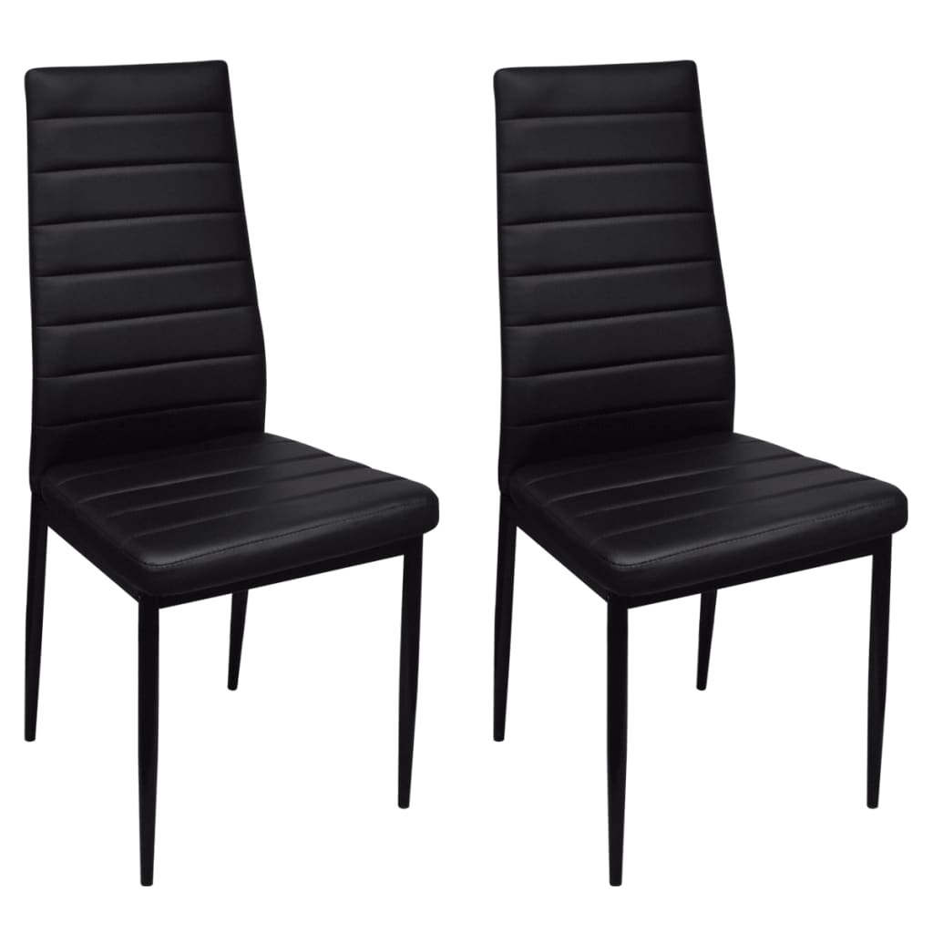 New-2-pcs-Black-Slim-Line-Dining-Chair-42-x-51-x-98-cm-Artificial-Leather