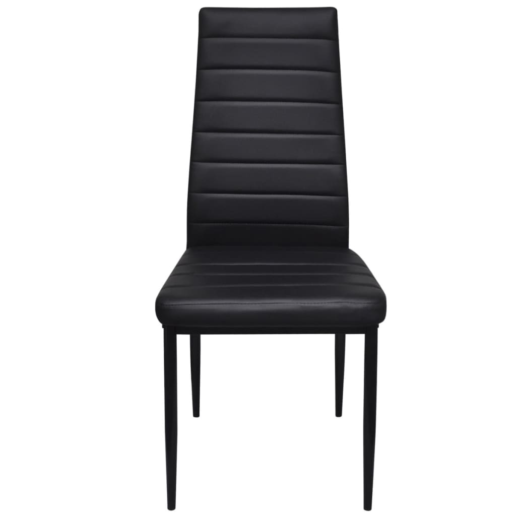 New-4-pcs-Black-Slim-Line-Dining-Chair-42-x-51-x-98-cm-Artificial-Leather