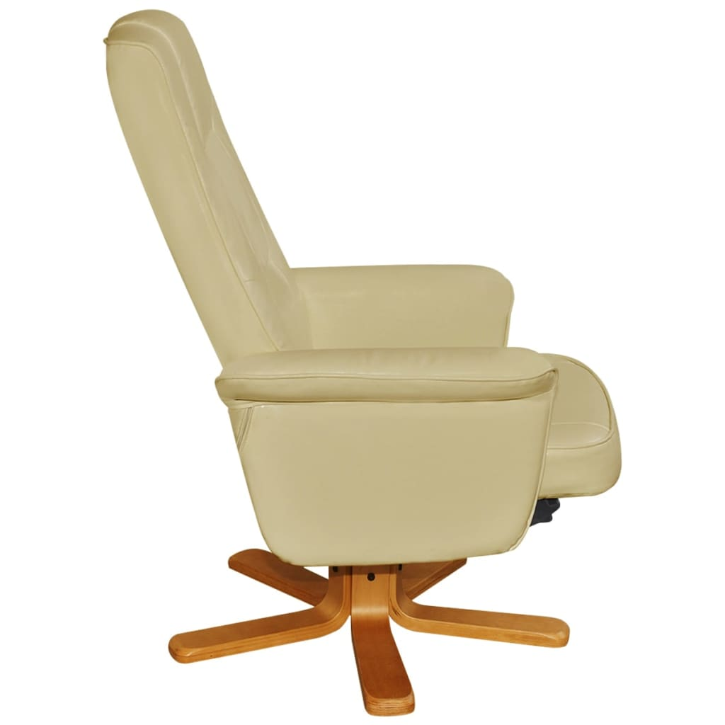 White Artificial Leather Tv Armchair With Foot Stool