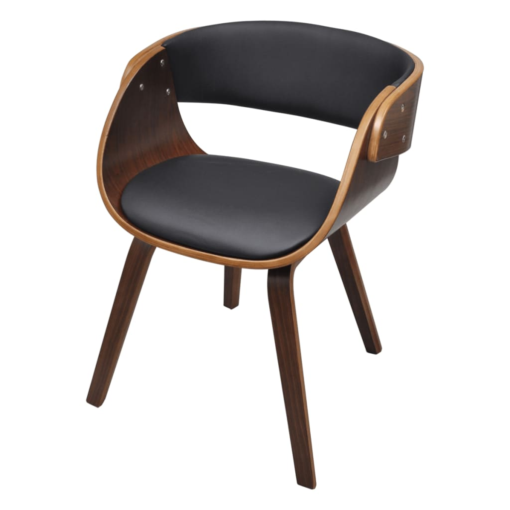 Dining chair with padded bentwood seat for Chaise noire et bois