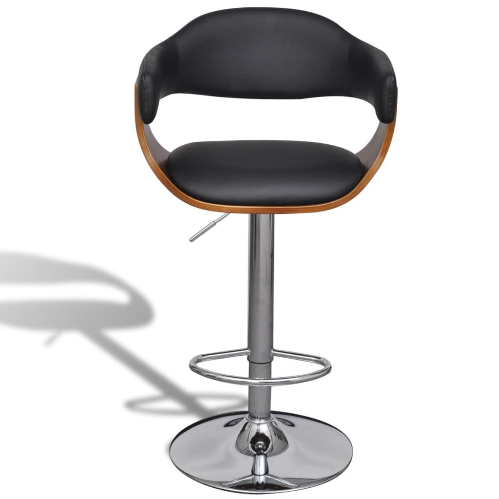 Set Of 2 Adjustable Swivel Bar Stool Artificial Leather