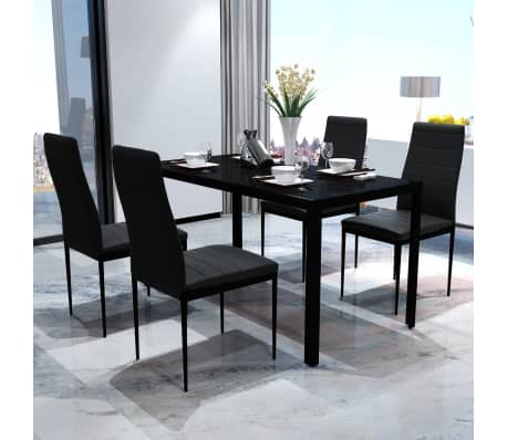 Contemporary Dining Set with Table and 4 Chairs Black