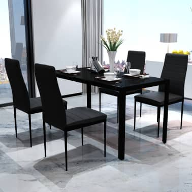Contemporary Dining Set with Table and 4 Chairs Black[1/4]