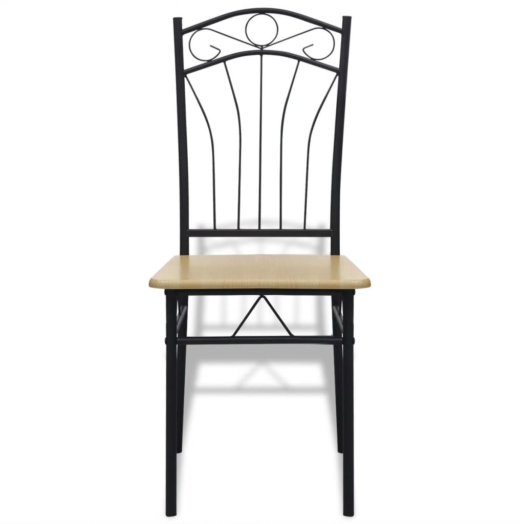 Steel Dining Chairs ~ Vidaxl set of light brown steel frame dining chairs