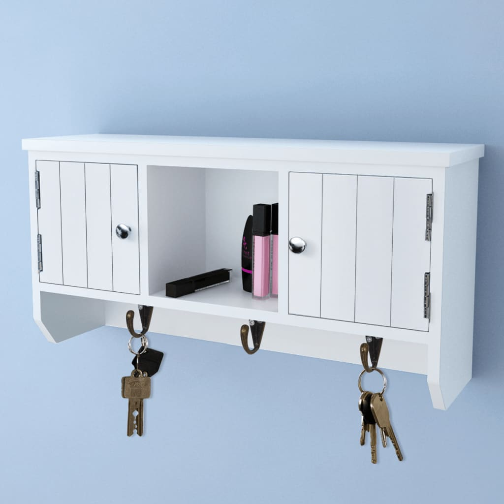 Wall Cabinet for Keys and Jewelry with Doors and Hooks Shelf Display ...