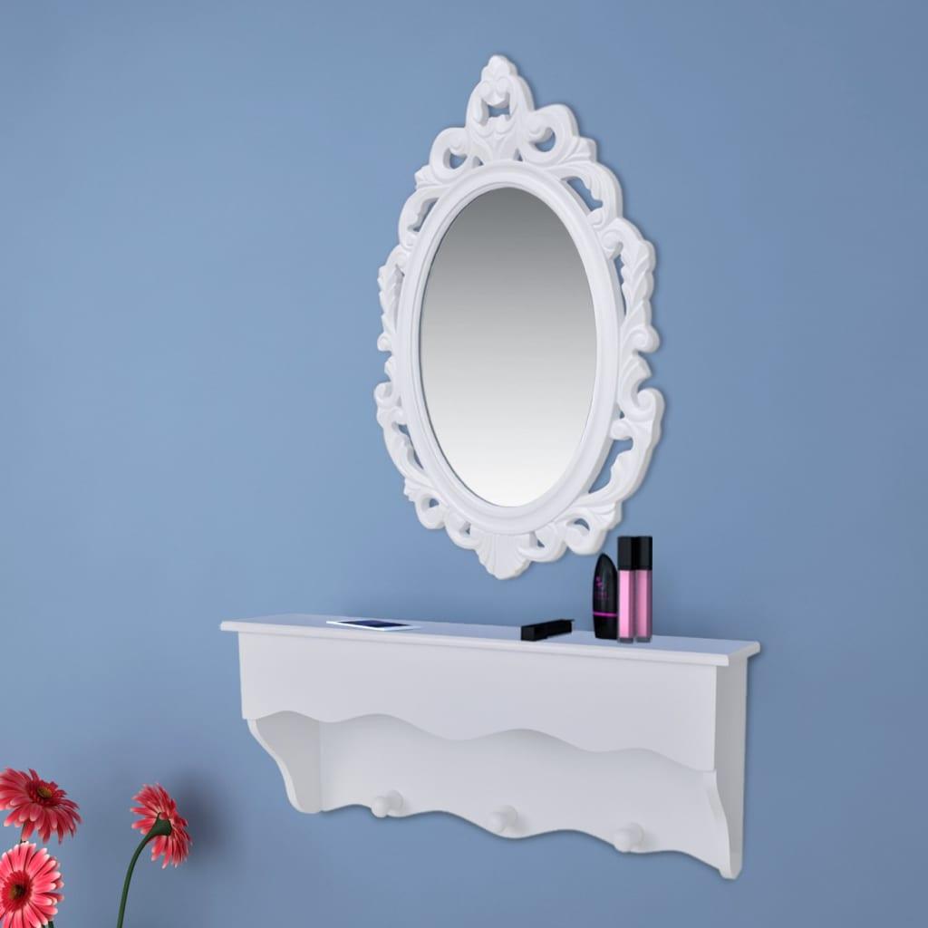 Acheter Ensemble Tag Re Murale Avec Miroir Et Crochets Pour Cl S Et Bijoux Pas Cher