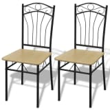 2 Dining Chairs with Steel Frame Light Brown