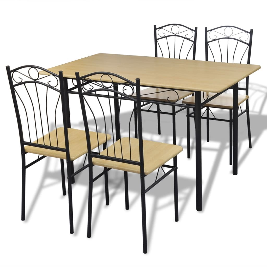 Dining set 1 table with 4 chairs light brown for Four chair dining table set